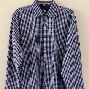 Bugatchi Uomo Long Sleeve Blue Shirt  XL